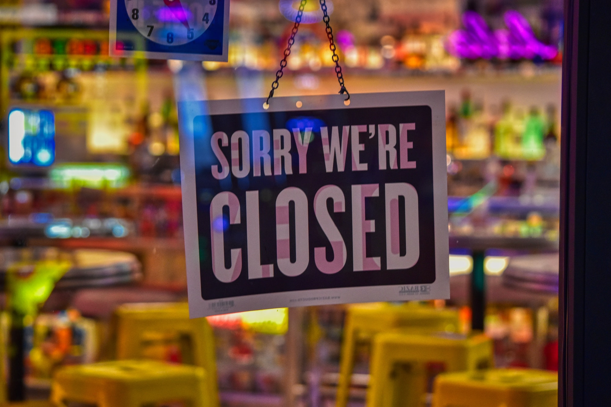 Sorry we're closed. Small business closed during coronavirus pandemic COVID-19 business continuity
